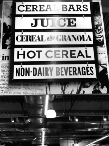 Grocery Store Sign - Juice, Cereal, Non-Dairy Beverages